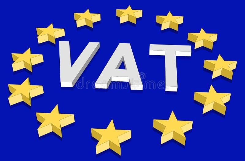 Isometrische Europese Unie vlag met 3d sterren in perspectief en het belastings op de toegevoegde waardeacroniem royalty-vrije illustratie