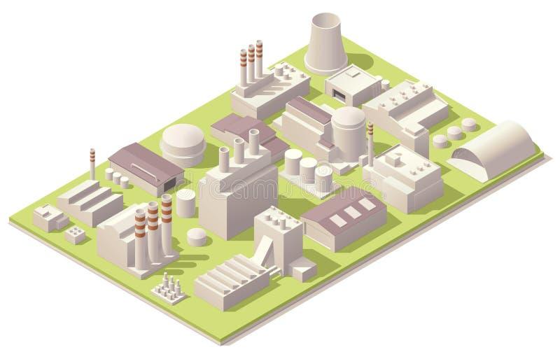 Isometrische fabrieksgebouwen