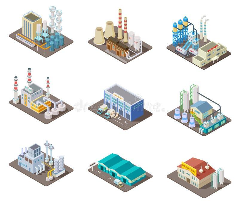Isometrische fabrieksreeks 3d industriële gebouwen, elektrische centrale en pakhuis Geïsoleerde vectorinzameling vector illustratie