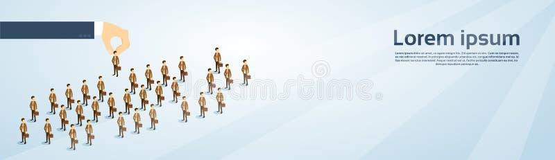 Isometrische Fahne Einstellungs-Handsammeln-Geschäfts-Person Candidate People Group Copy-Raum-3d stock abbildung
