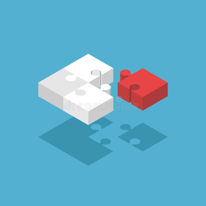 Isometrische fehlende Puzzlespielstücke vektor abbildung