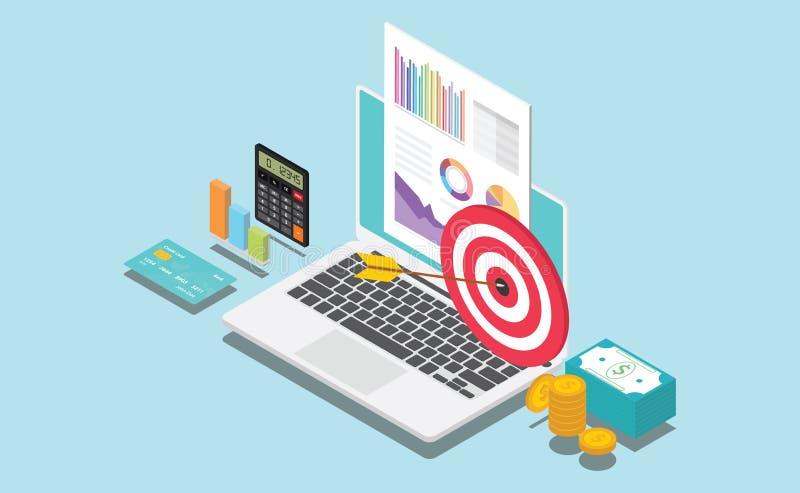 Isometrische Finanzierungsgesellschaft oder persönliches Ziel mit Daten stellen Diagramm und Geld grafisch dar lizenzfreie abbildung