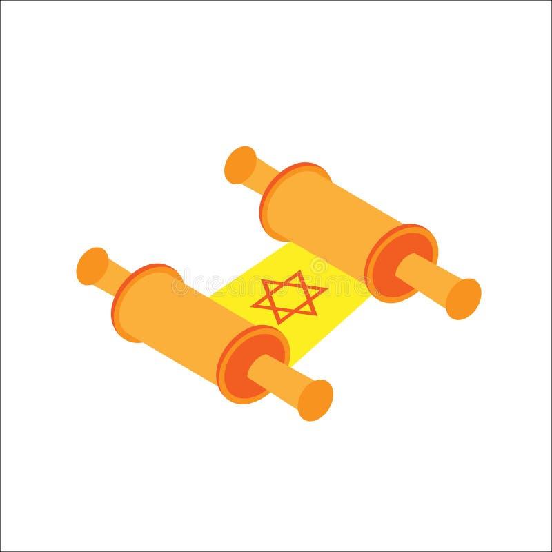 Isometrische flache alte jüdische Rolle Chanukkas, jüdische Feiertagsikone Illustration des Elements für Chanukka im Vektor lizenzfreie abbildung