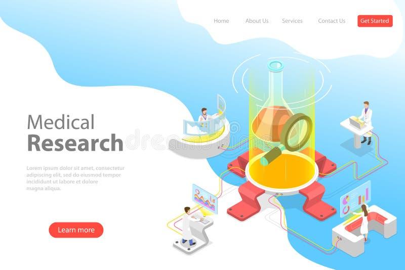 Isometrische flache Vektorlandungs-Seitenschablone der medizinischen Forschung lizenzfreie abbildung