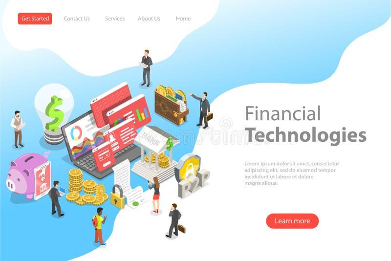 Isometrische flache Vektorlandungs-Seitenschablone von fintech, Finanztechnologie lizenzfreie abbildung