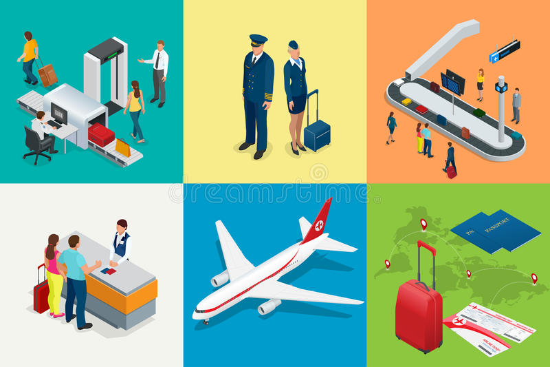 Isometrische Flughafenreise-und -transport Ikonen Lokalisierte Leute, Flughafenabfertigungsgebäude, Flugzeug, Reisendmann und Fra lizenzfreie abbildung