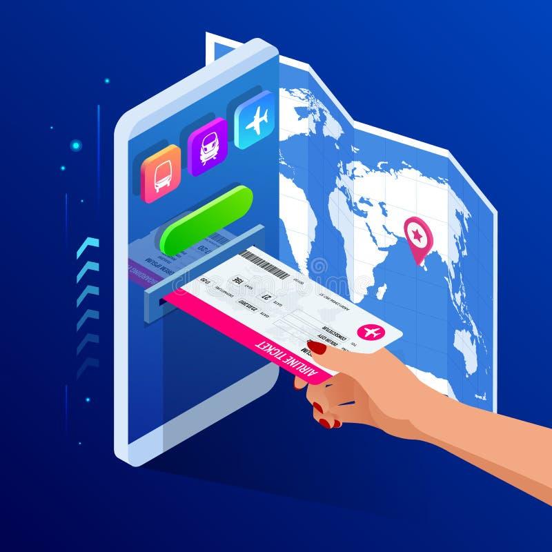 Isometrische Fluglinie oder Bus oder Bahnfahrkarten online Kaufende oder buchende on-line-Karte Reise, Gesch?ftsfl?ge weltweit stock abbildung