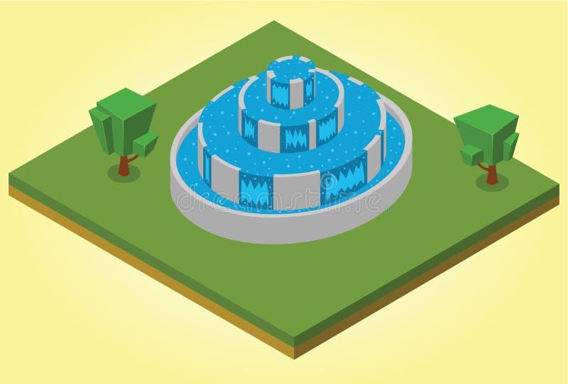 Isometrische fontein vector illustratie