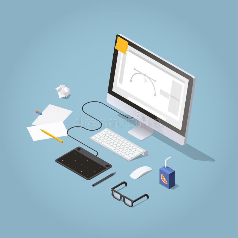 Isometrische Freelancer-Werkruimteillustratie royalty-vrije illustratie