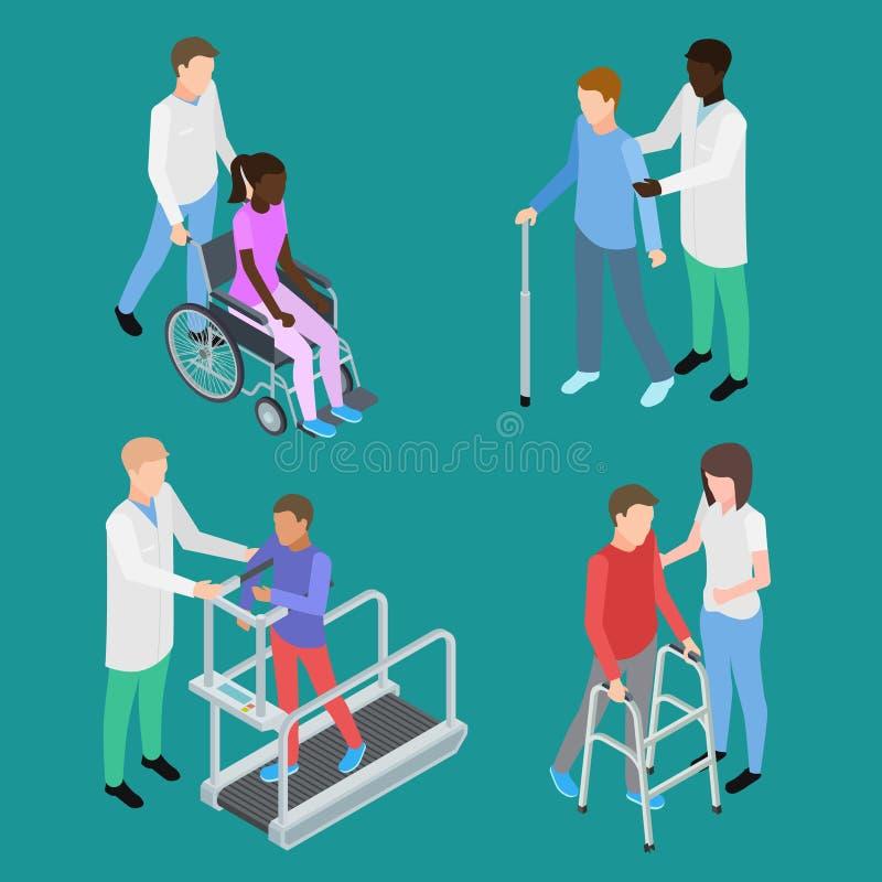 Isometrische fysiotherapie en medische rehabilitatie voor tieners en volwassenen royalty-vrije illustratie