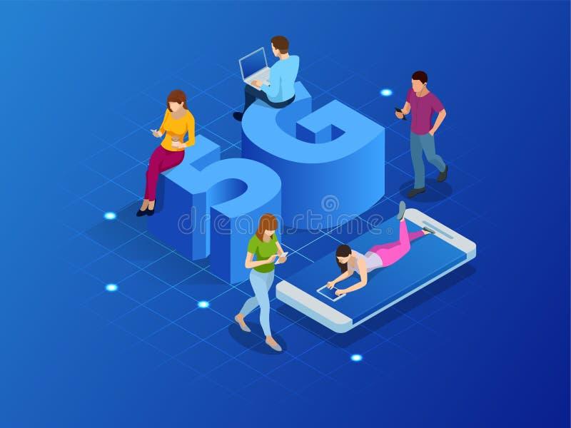 Isometrische 5G netwerk draadloze systemen en de vectorillustratie van Internet Communicatienetwerk, Bedrijfsconcept stock illustratie