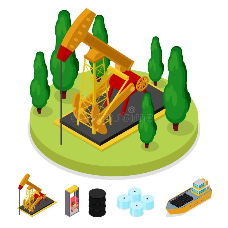 Isometrische Gas-und Erdölindustrie Plattform-Bohrung Brennstoff-Produktion stock abbildung