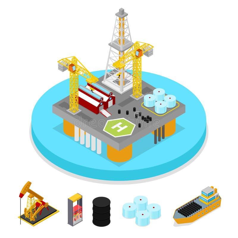 Isometrische Gas-und Erdölindustrie Plattform-Bohrung im Ozean Brennstoff-Produktion stock abbildung