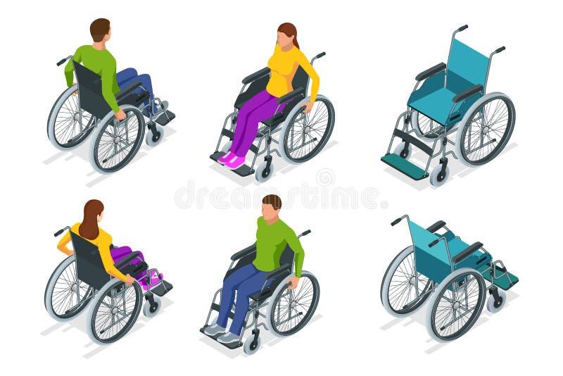 Isometrische ge?soleerde Rolstoel Man en vrouw in rolstoel Medische steunmateriaal Het concept van de gezondheidszorg royalty-vrije illustratie