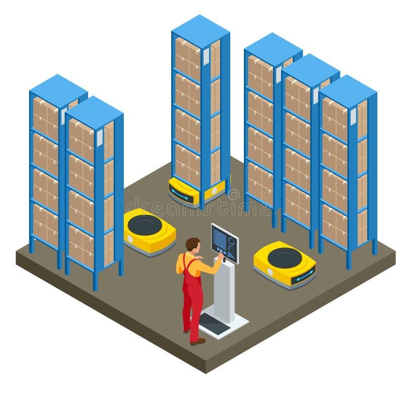 Isometrische geautomatiseerde pakhuisrobots Modern logistiekcentrum Geïsoleerdj op witte achtergrond stock illustratie