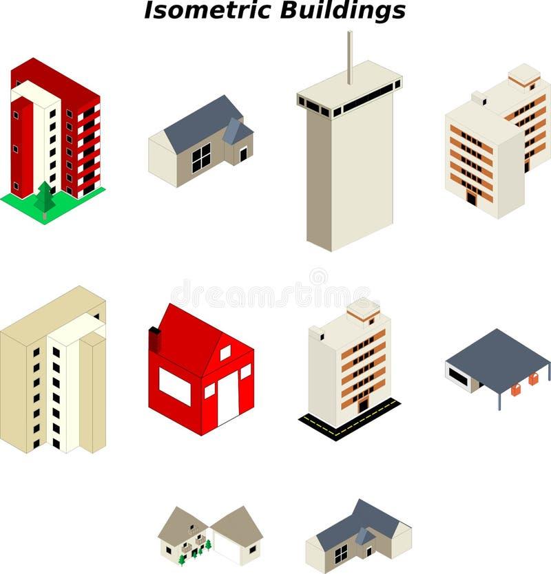 Isometrische Gebäude lizenzfreie abbildung
