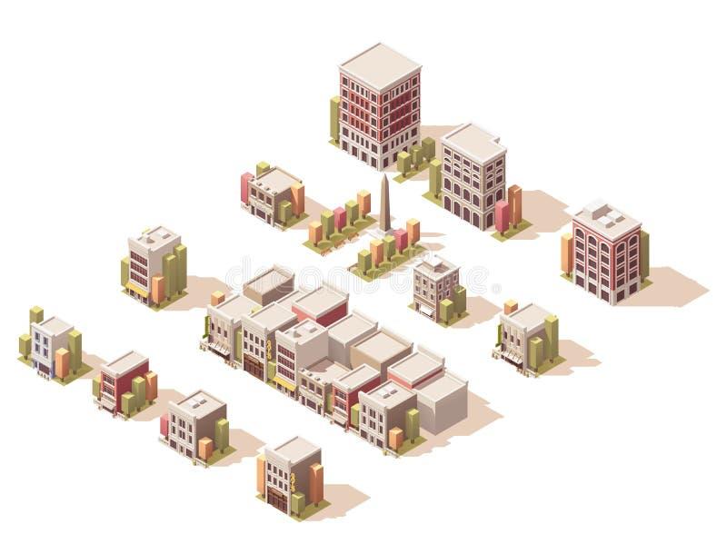 Isometrische Gebäude des Vektors eingestellt vektor abbildung