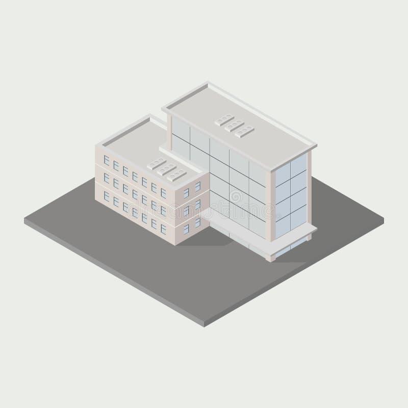 Isometrische Gebäudeikone lizenzfreie abbildung