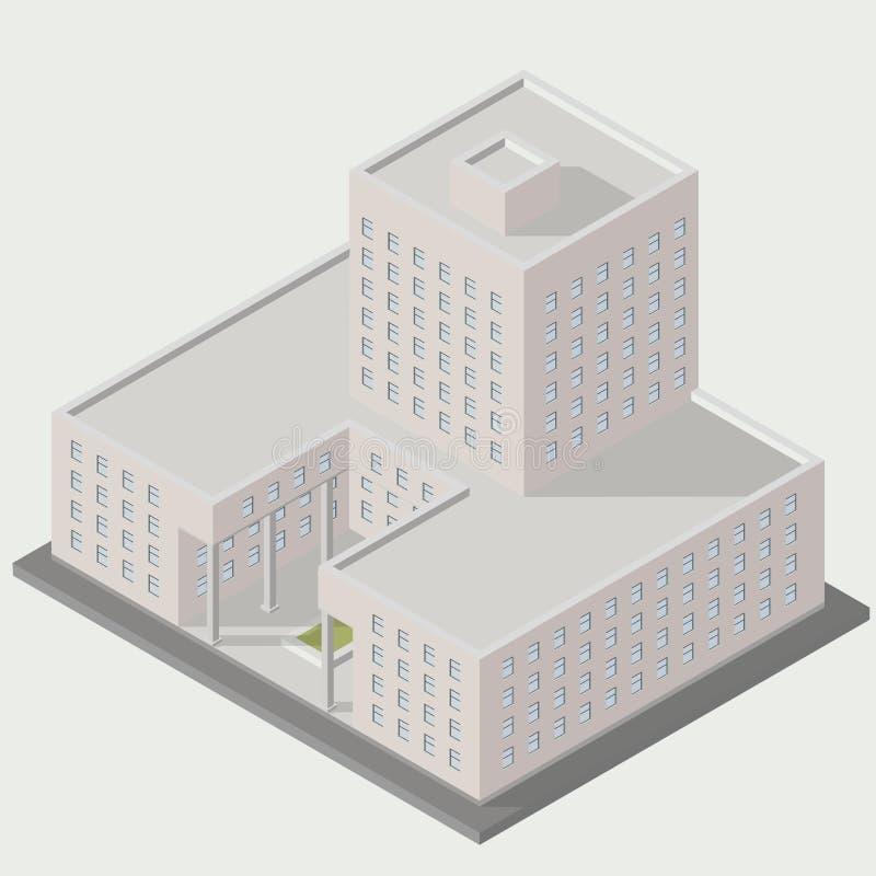 Isometrische Gebäudeikone stock abbildung