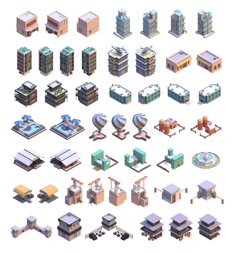 Isometrische Gebäudeikonen lizenzfreie abbildung
