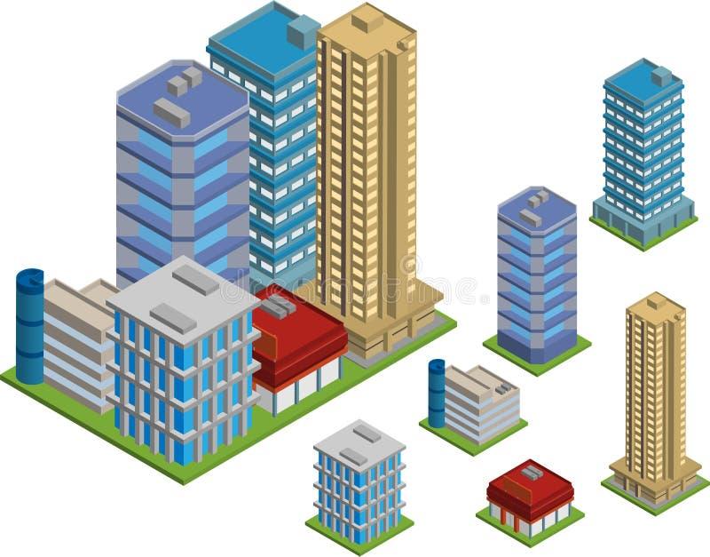 Isometrische gebouwen stock illustratie