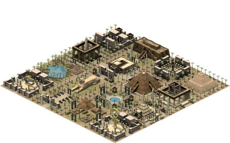 Isometrische gebouwen van oud Egypte, platform met oude architectuur het 3d teruggeven stock illustratie