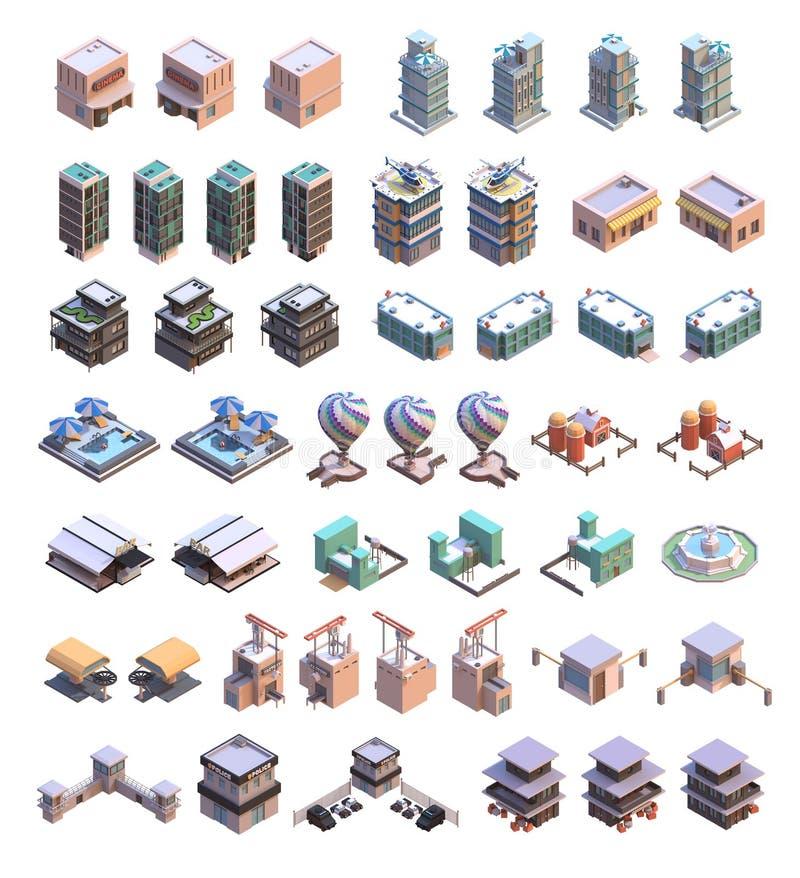 Isometrische gebouwenpictogrammen royalty-vrije illustratie