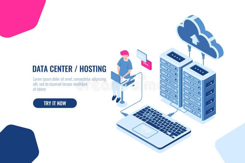 Isometrische gegevensberekening en controle, ingenieur met wolkenopslag werken, serverruimte, datacenter en databasepictogram die stock illustratie