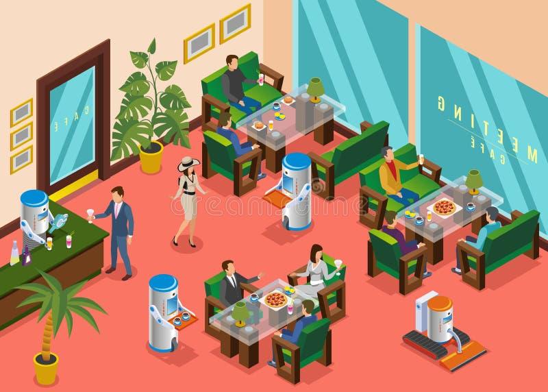 Isometrische Gekleurde Robotachtige Restaurantsamenstelling royalty-vrije illustratie