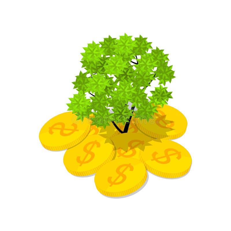 Isometrische geldboom Het groene voortkomen van Vera uit geld royalty-vrije illustratie
