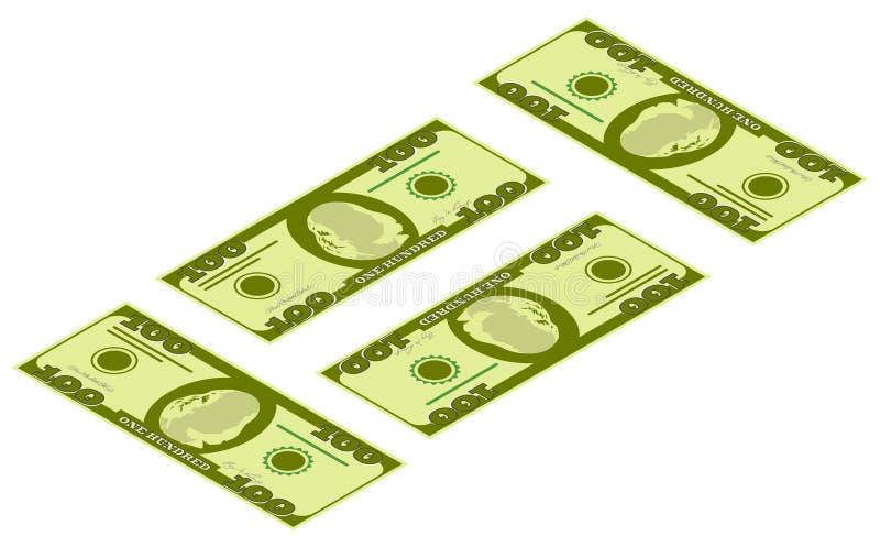 Isometrische geldpictogrammen Groene het bankbiljet van de dollarmunt Dollarsrekening, geldbankbiljet Dollarrekening op witte ach vector illustratie
