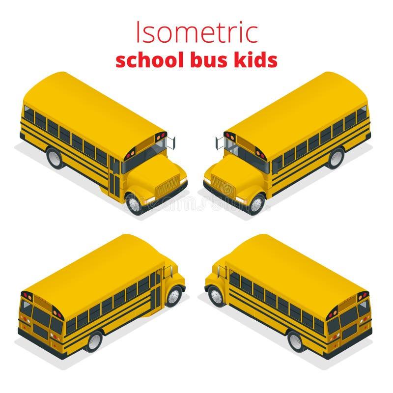 Isometrische Gele de Jonge geitjes vectordieillustratie van de Schoolbus op witte achtergrond wordt geïsoleerd vector illustratie