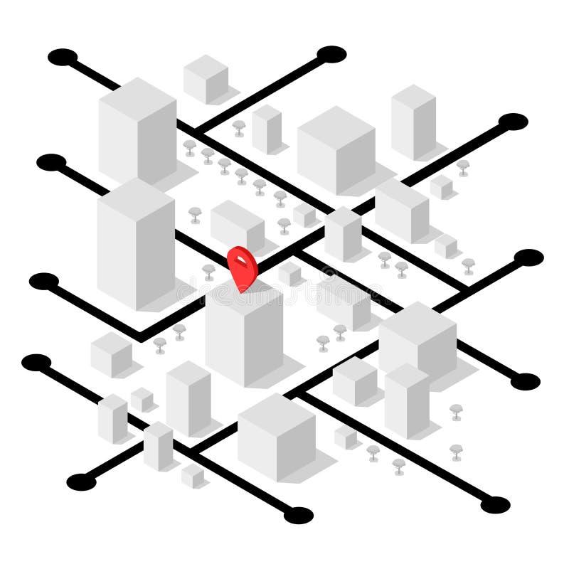 Isometrische geolocationkaart met gebouwen en wegen De kaart van de Minimalisticnavigatie Plaats met speldwijzer isometrisch stock illustratie
