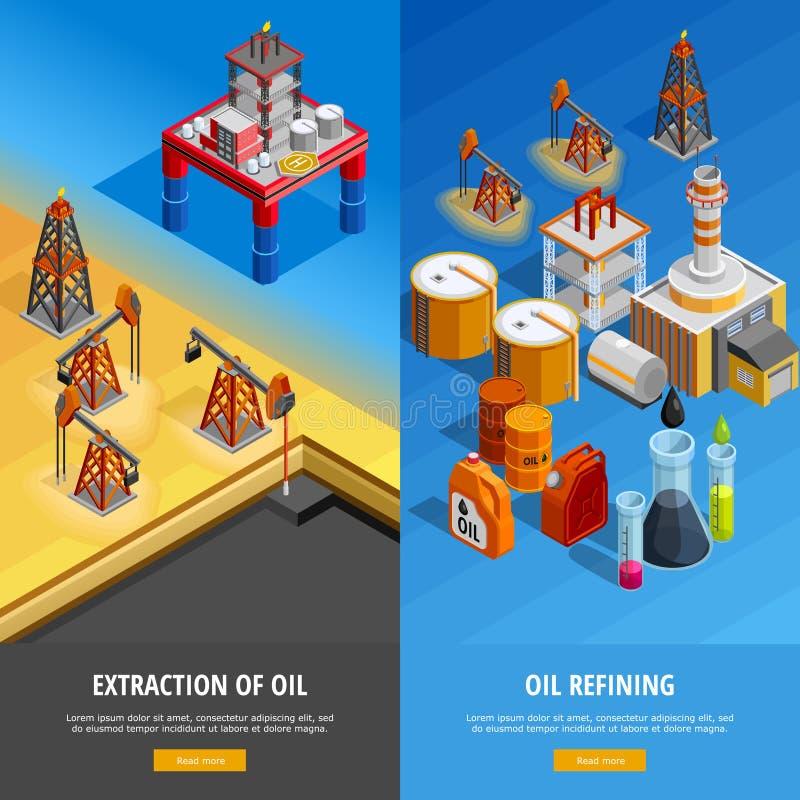 Isometrische Geplaatste de Webpaginabanners van de olieindustrie stock illustratie
