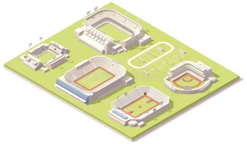 Isometrische geplaatste stadiongebouwen stock illustratie