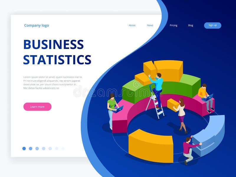 Isometrische Geschäftsanalytik, -strategie und -planung Technologie-, Internet- und Netzkonzept Daten und Investitionen lizenzfreie abbildung