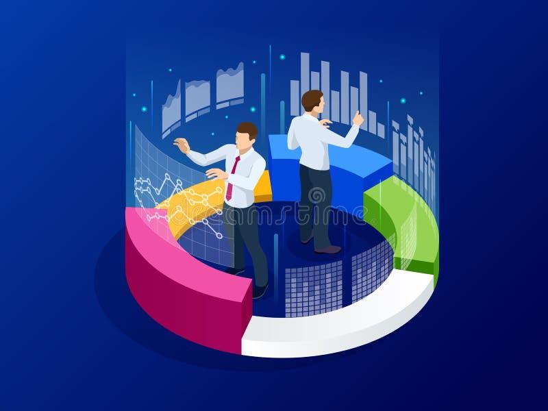 Isometrische Geschäftsanalytik, -strategie und -planung Technologie-, Internet- und Netzkonzept Daten und Investitionen vektor abbildung
