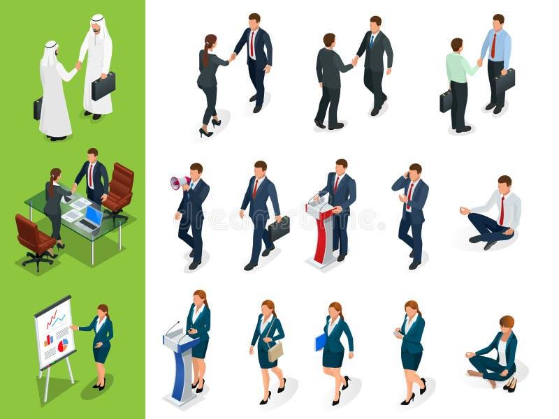 Isometrische Geschäftscharakterhaltungen händedruck Satz von Businessmans, von Businesswomans und von Araber bemannt auf weißem H stock abbildung