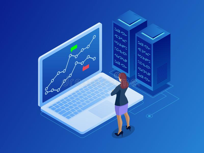 Isometrische Geschäftsfrauen, die online Aktien handeln Börsenmakler, der Diagramme, Indizes und Zahlen auf mehrfachem Computer b vektor abbildung