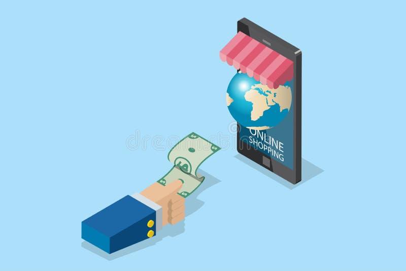 Isometrische Geschäftshand, die Banknote mit Smartphone- und Weltkugel, Technologie und Geschäftskonzept hält stockfotos