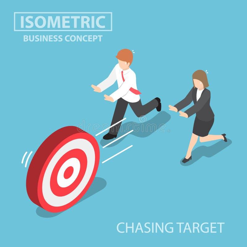 Isometrische Geschäftsleute, die das Ziel jagen stock abbildung