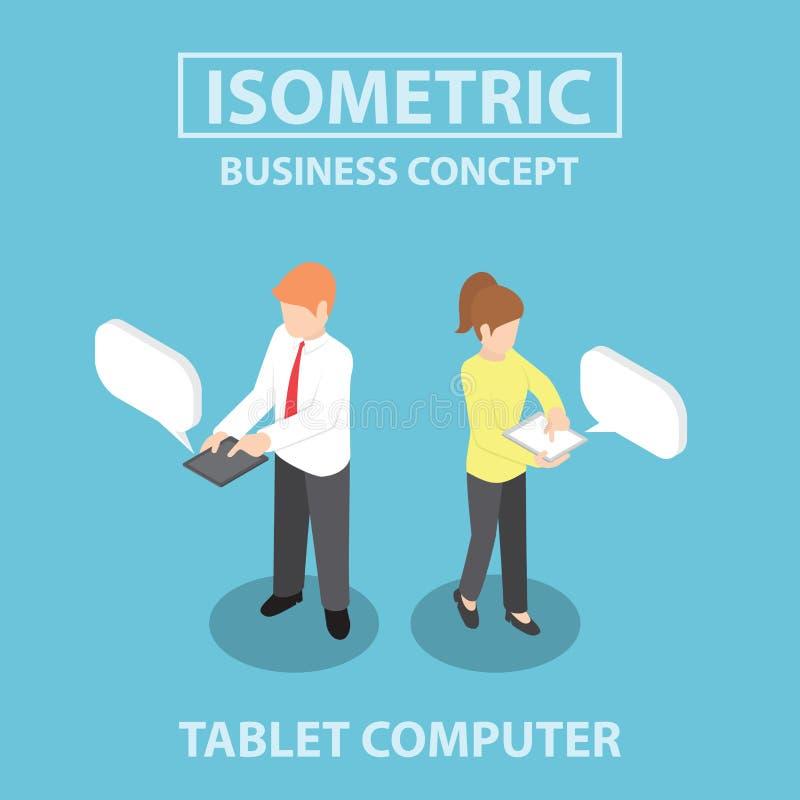 Isometrische Geschäftsleute, die Tablet-Computer verwenden lizenzfreie abbildung