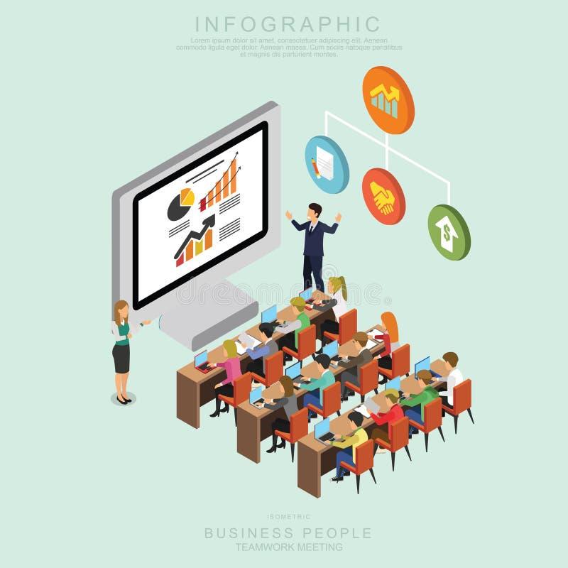 Isometrische Geschäftsleute Teamwork-Sitzungs-im Büro, teilen Idee, infographic Vektordesign gesetztes O stock abbildung