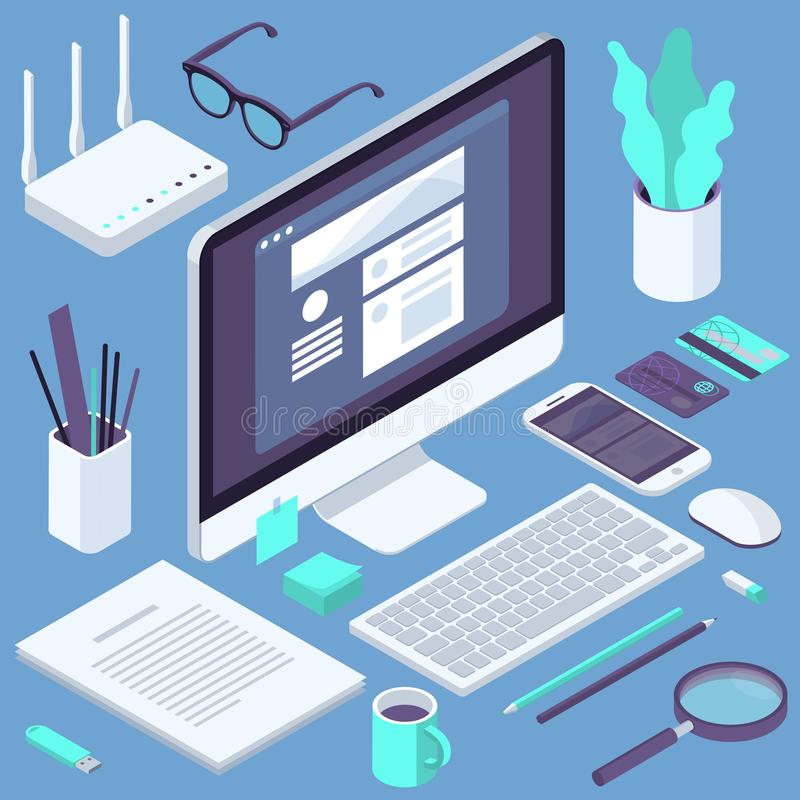 Isometrische Geschäftslokal-Arbeitsplatzelemente lizenzfreie abbildung
