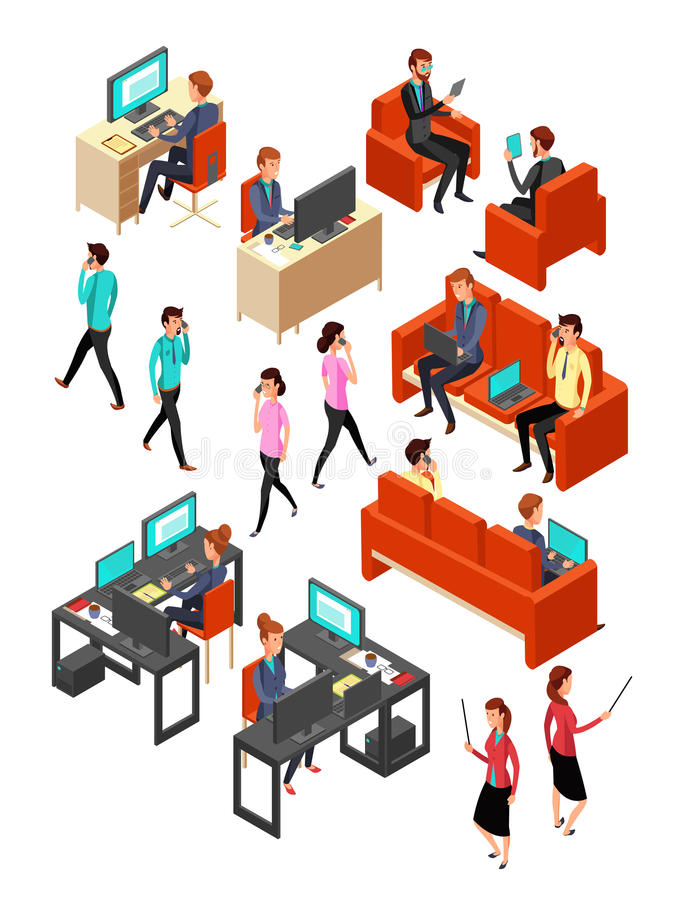Isometrische Geschäftslokal-Leutevernetzung Lokalisierter Vektorsatz der Erwerbstätigen 3d lizenzfreie abbildung