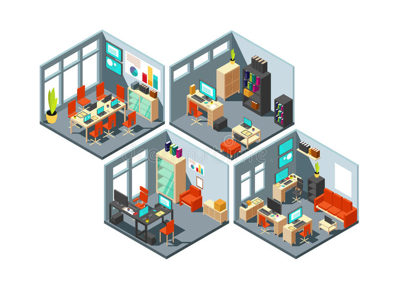 Isometrische Geschäftslokale mit verschiedenen Arbeitsplätzen Büroplan des Vektors 3d lizenzfreie abbildung