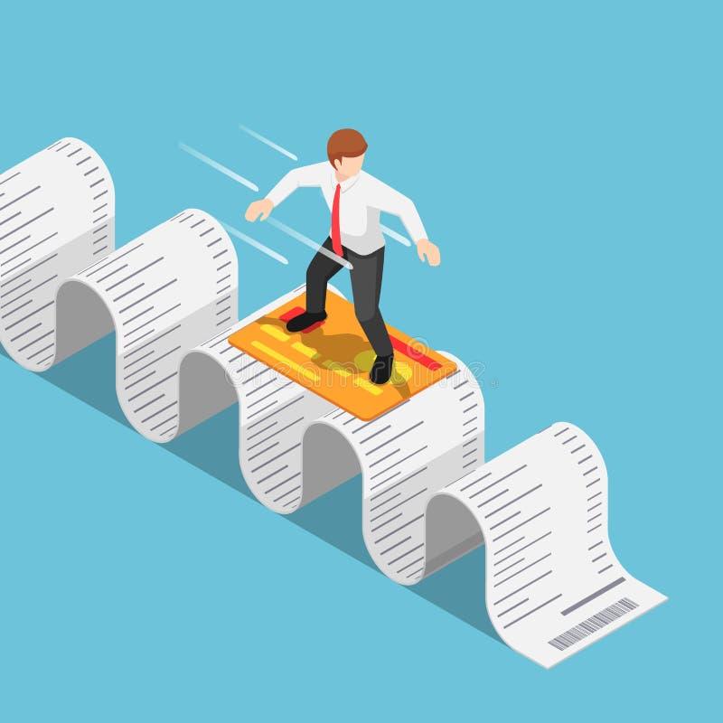 Isometrische Geschäftsmanngebrauchskreditkarte und Surfen auf den Einkaufsempfang lizenzfreie abbildung