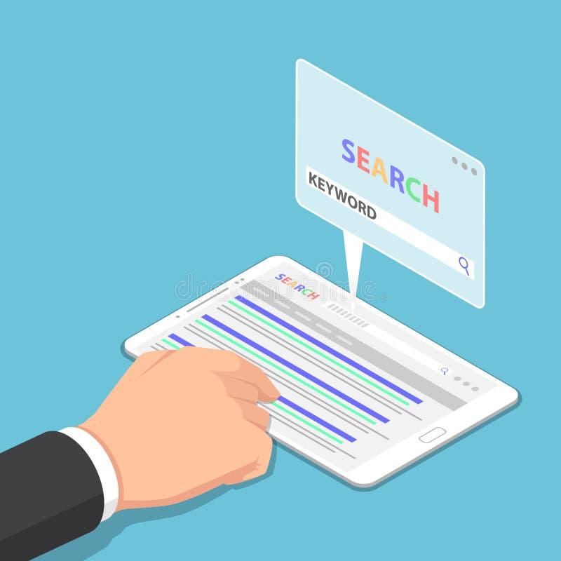 Isometrische Geschäftsmannhandgebrauchstablette zum Suchen des Schlüsselwortes auf Se lizenzfreie abbildung