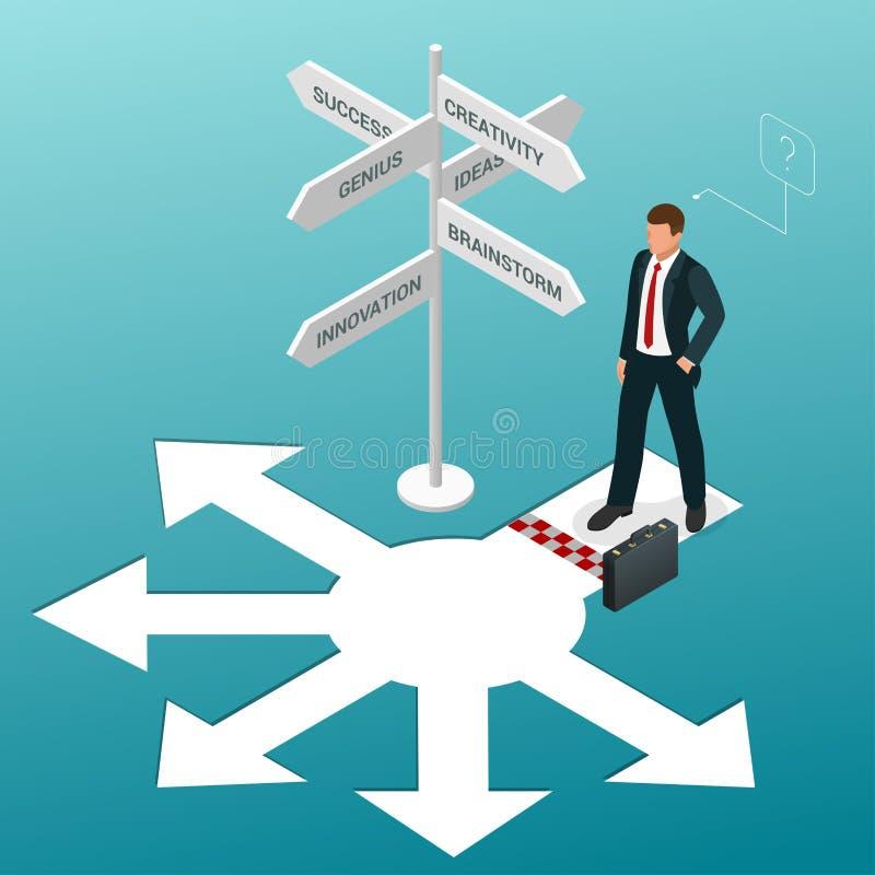 Isometrische Geschäftsrichtungen Geschäftsmann, der an einer Kreuzung steht und Richtungszeichenpfeile in schwierigem schaut vektor abbildung