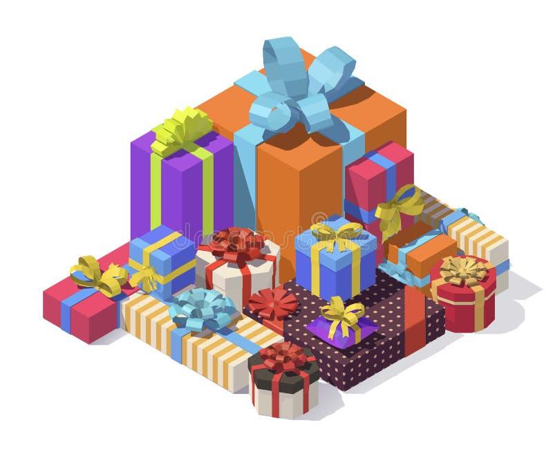 Isometrische Geschenkboxen des Vektors lizenzfreie abbildung